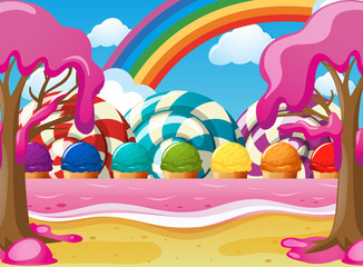 Scene with icecream and lolipops