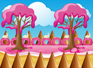 Candy land with strawberry cream trees