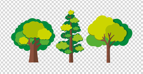 Three trees in different shapes