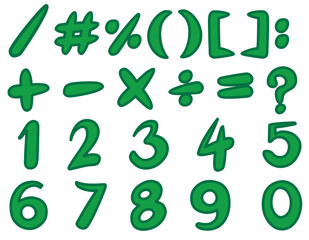 Numbers and simple signs in green color
