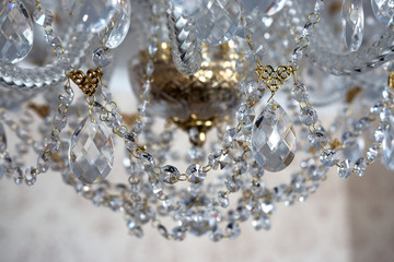 Details of a crystal chandelier close-up