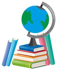 Books and globe on white background