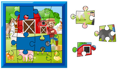 Jigsaw puzzle pieces for farmer on the farm