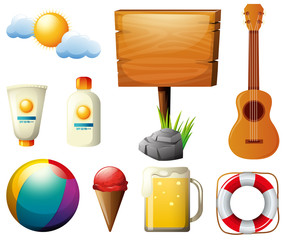 Wooden sign and other summer items