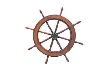 Ship steering wheel isolated on white background with clipping path.