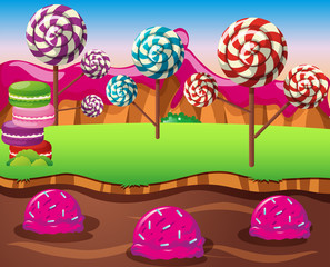 Scene with lolipops field and icecream river