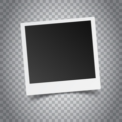 Blank retro photo frame on grey background. Vector illustration.