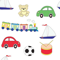 Seamless pattern with children's toys for boys . Vector picture