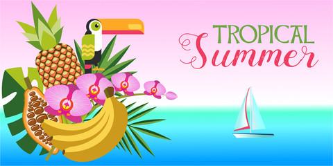 Tropical summer vector illustration. Exotic plants, Toucan, sea, yacht.