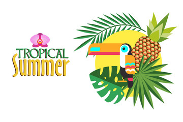 Tropical summer. Vector illustration. Tropical plants, Toucan, pineapple and sun.