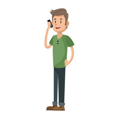 man using a smartphone, cartoon icon over white background. colorful design. vector illustration