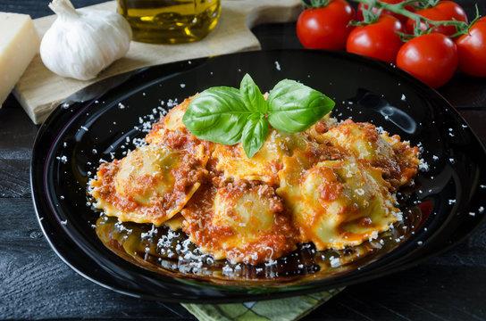 Ravioli in a tomato sauce