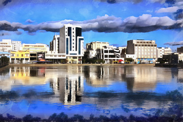 Colorful painting of modern buildings with water on foreground