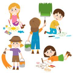 set of isolated children artist part 1 - vector illustration, eps