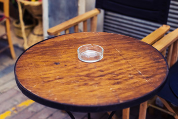 glass ashtray on the table