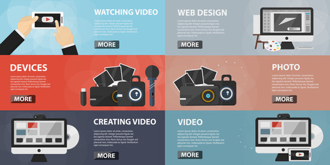 Vector set of flat banners of making video for websites. Concept of creative video, social media and online marketing. Collection of photo elements and equipment in flat design.