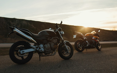 motorcycles on sunset