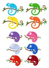 Set of multicolored chameleons on branches. Vector illustration.