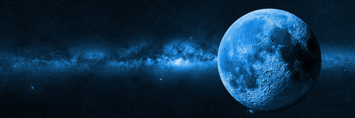 Moon in front of the Milky Way galaxy (blue 3d illustration, background banner)