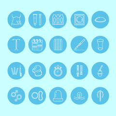 Contraceptive methods line icons. Birth control equipment, condom, oral contraceptives, iud, barrier contraception vaginal ring, sterilization. Safe sex thin linear sign for medical clinic. Blue color