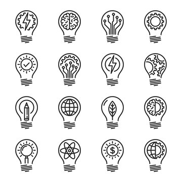 Idea intelligence creativity knowledge thin line icon set. Edita