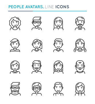 People avatars thin line icon set. Editable stroke.