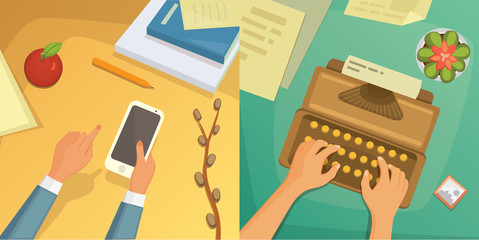 Flat design top view on desk concept Design, Writing on letter. Workplace with typewriter. Flat design. blogging illustration.