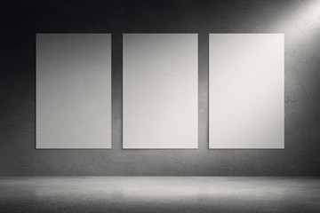 Canvas frames on cement grunge wall background