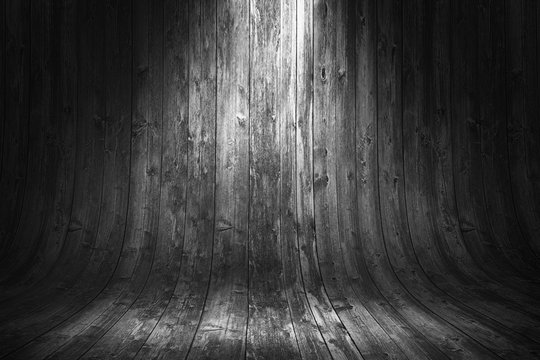 Old grungy curved wooden background. 3d rendering illustration