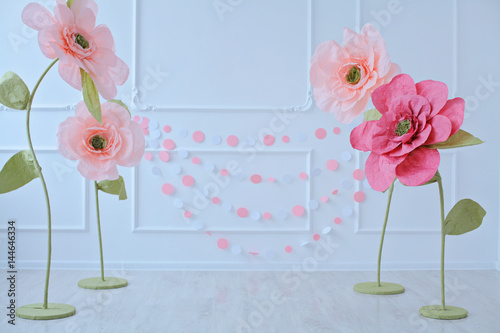 Studio Decor For Cake Smash Shoot Big Pink Paper Flowers Fabric