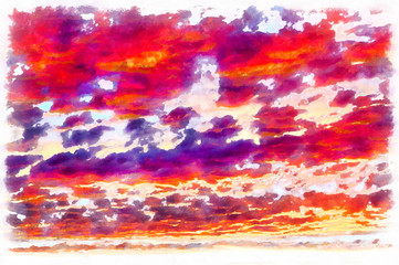 Clouds on sunset sky colorful painting