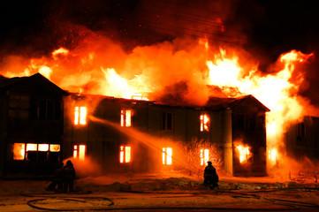 Burning wooden house