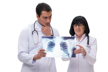 Two doctors looking at x-ray image isolated on white