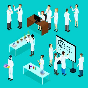 Isometric Scientists Characters Set