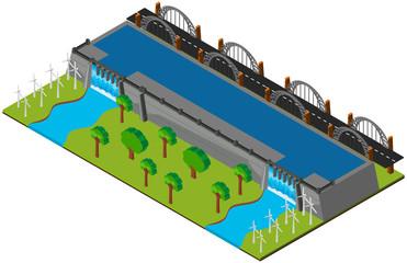 Dam and road in 3D design