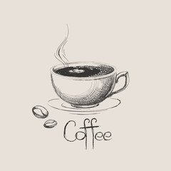 Hand drawn coffee cup with beans isolated