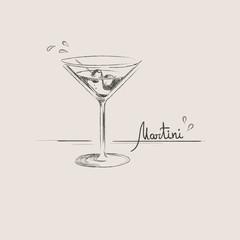 Hand drawn martini glass isolated