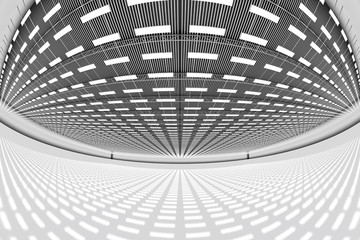 design element. 3D illustration. rendering. empty big warehouse black and white