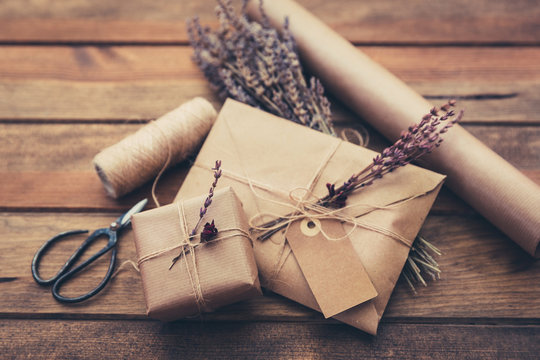 Wrapped gift box and envelope
