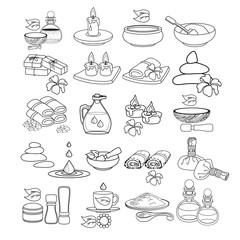 Spa icon set.  Vector illustration. Black line spa accessory.