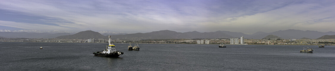 Panorama Coquimbo towards La Serena Chile