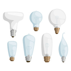 Cartoon lamps light bulb electricity design vector illustration set isolated electric icon object brainstorm notification symbol sign solution energy