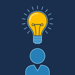 Person with lit bulb above head, New idea business illustration vector