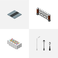 Isometric Street Set Of Flower Decoration, Fence, Path And Other Vector Objects. Also Includes Path, City, Fence Elements.