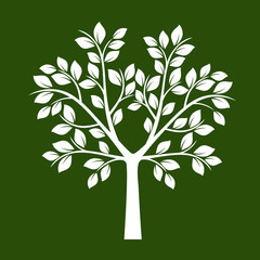 White Tree with Leafs. Vector Illustration.