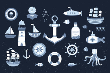 Collection of vector marine elements.