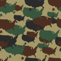 Military camouflage pattern. Seamless repeat camo in different colors. Vector military print with USA map. Army woodland camo.