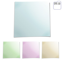 Set of color sheets of note papers. Four sticky notes. Vector illustration