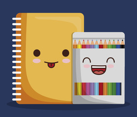kawaii notebook and colors box icon over blue background. colorful design. vector illustration