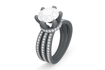Jewelry ring with diamonds 3D rendering in grayscale wireframe